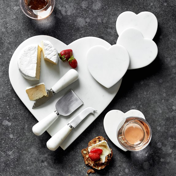 White Marble Heart Cheese Board