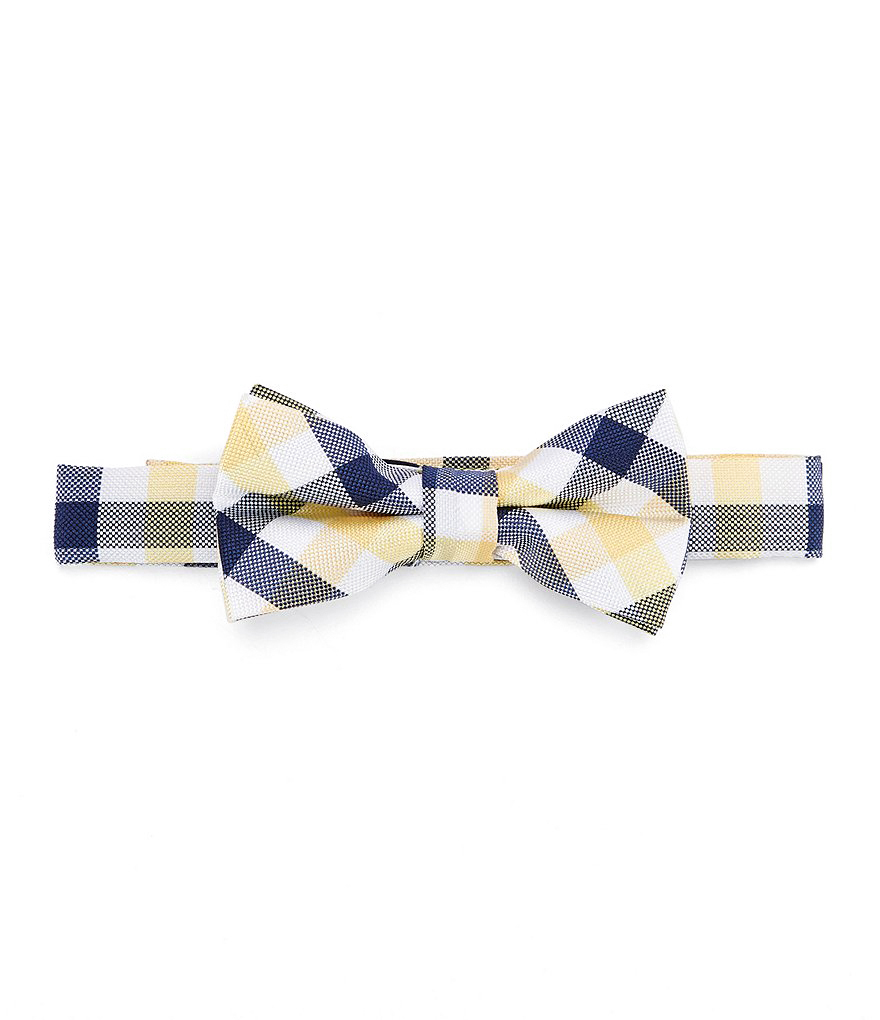ring bearer blue white yellow plaid bow tie