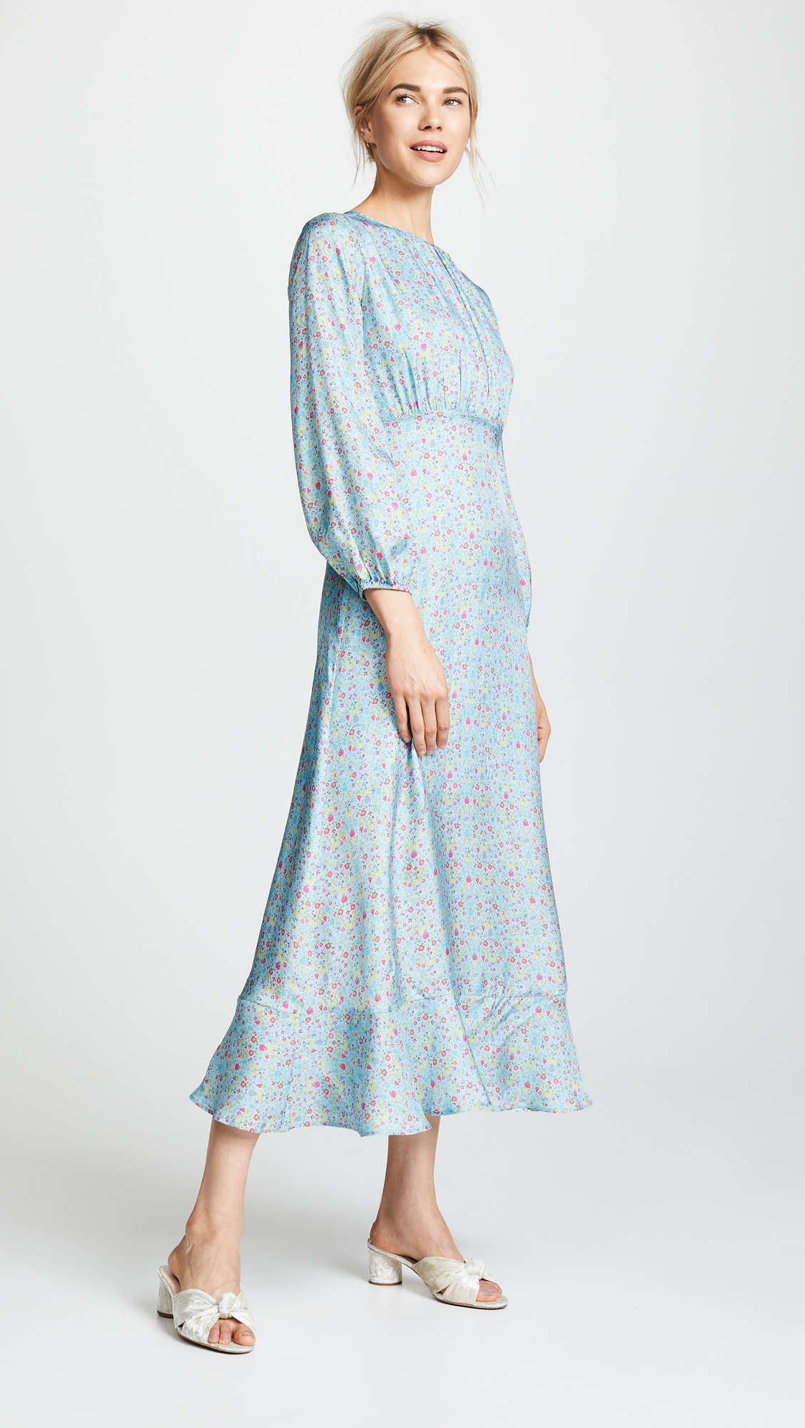 light blue long sleeved engagement party dress