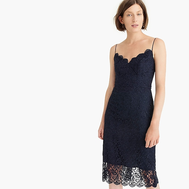 navy blue lace sleeveless engagement party dress