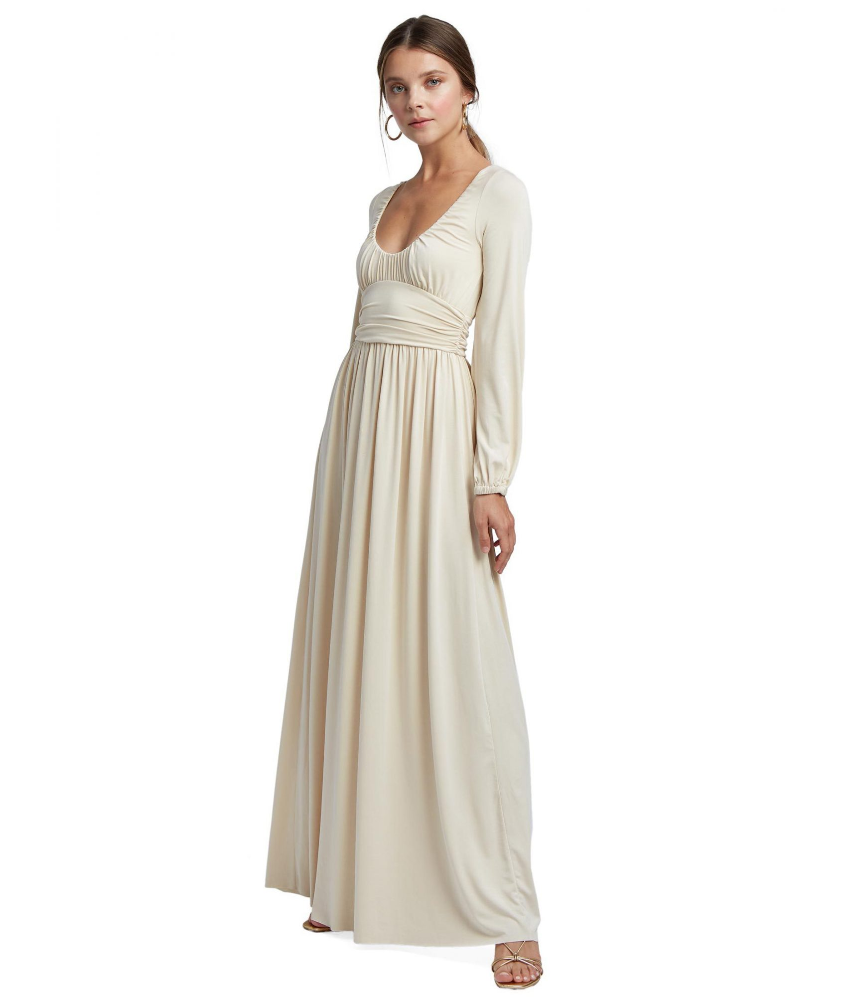 cream maxi engagement party dress