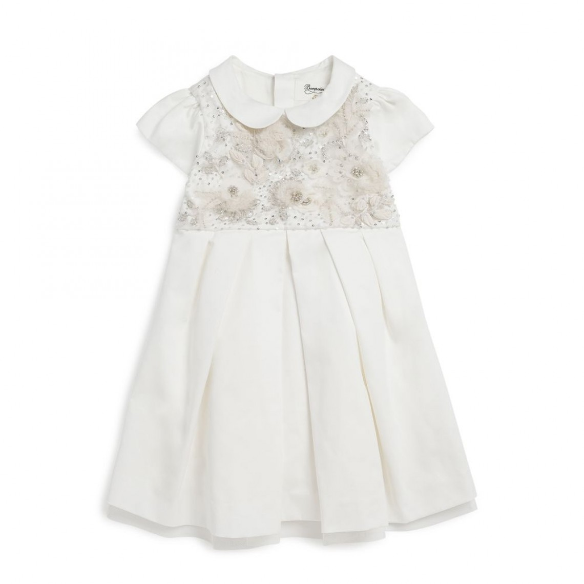 white collared cap sleeve embroidered flower girl dress