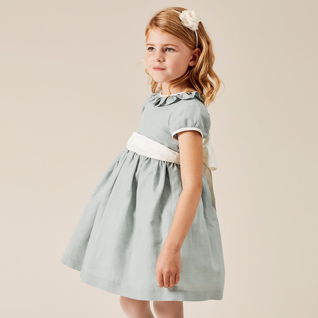 ruffle collared belted smock dress