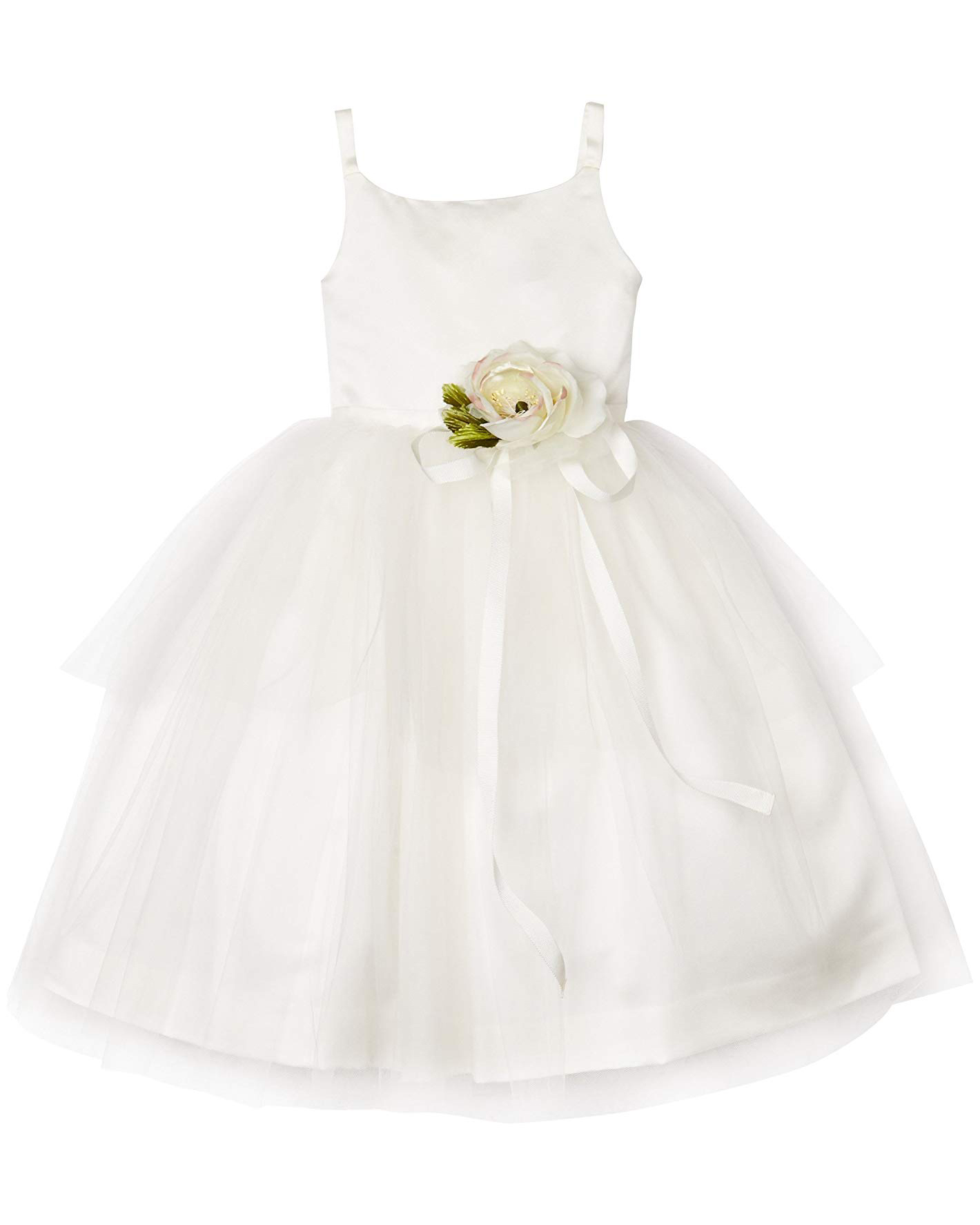 white ballerina dress with tulle skirt and floral ribbon waist