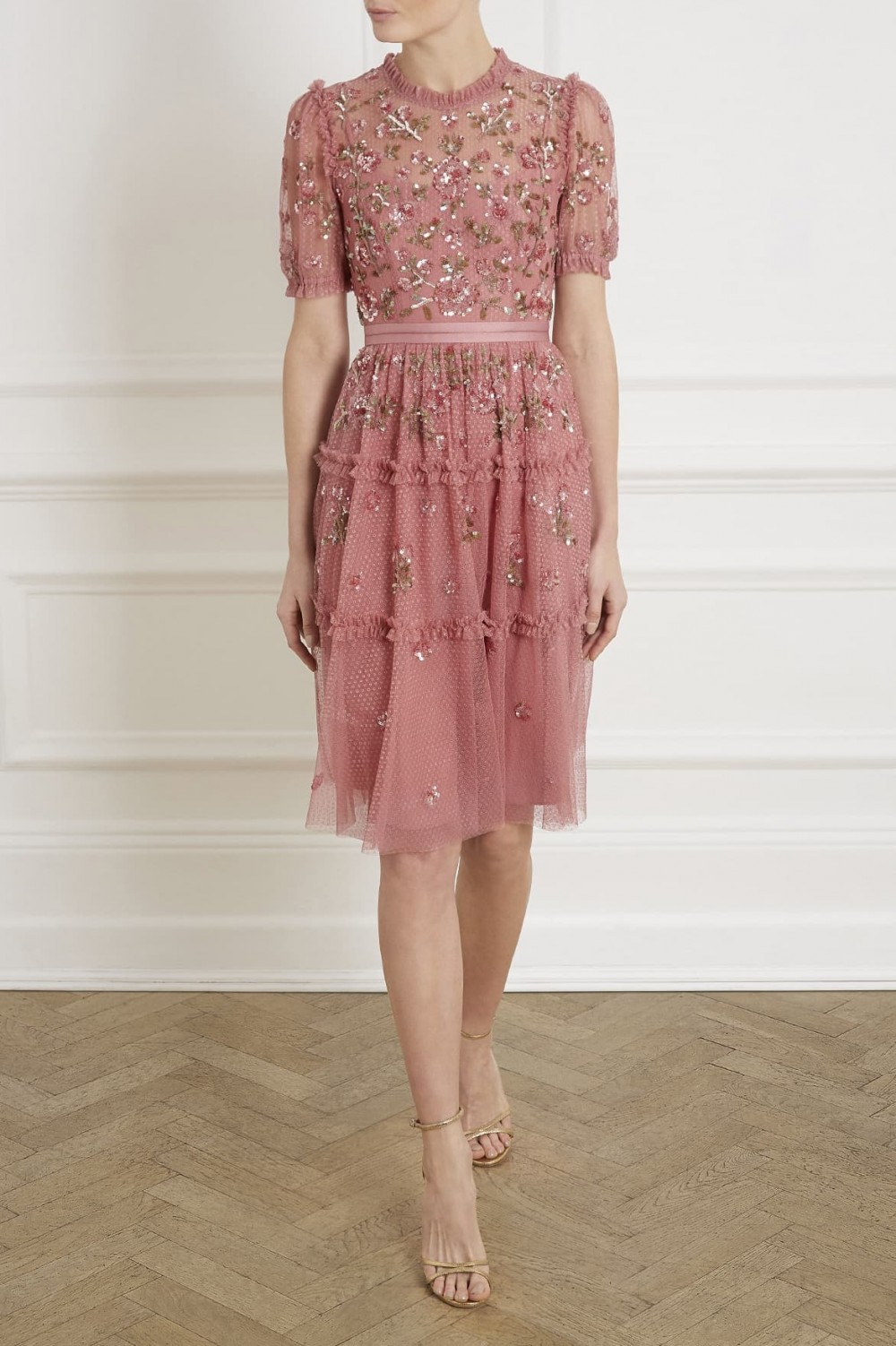 knee length capped sleeve pink lace floral dress