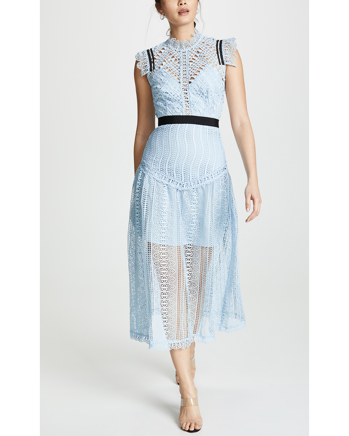 cap sleeve high nick blue lace black belted midi dress