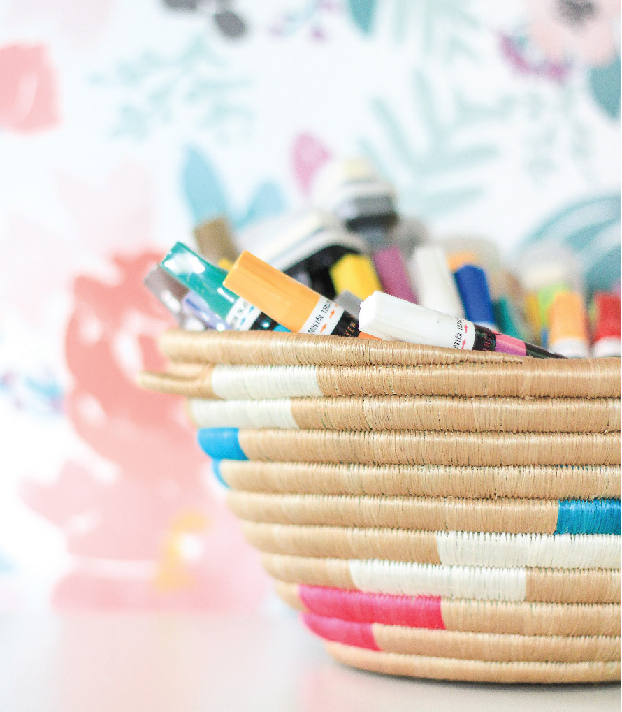 markers in basket