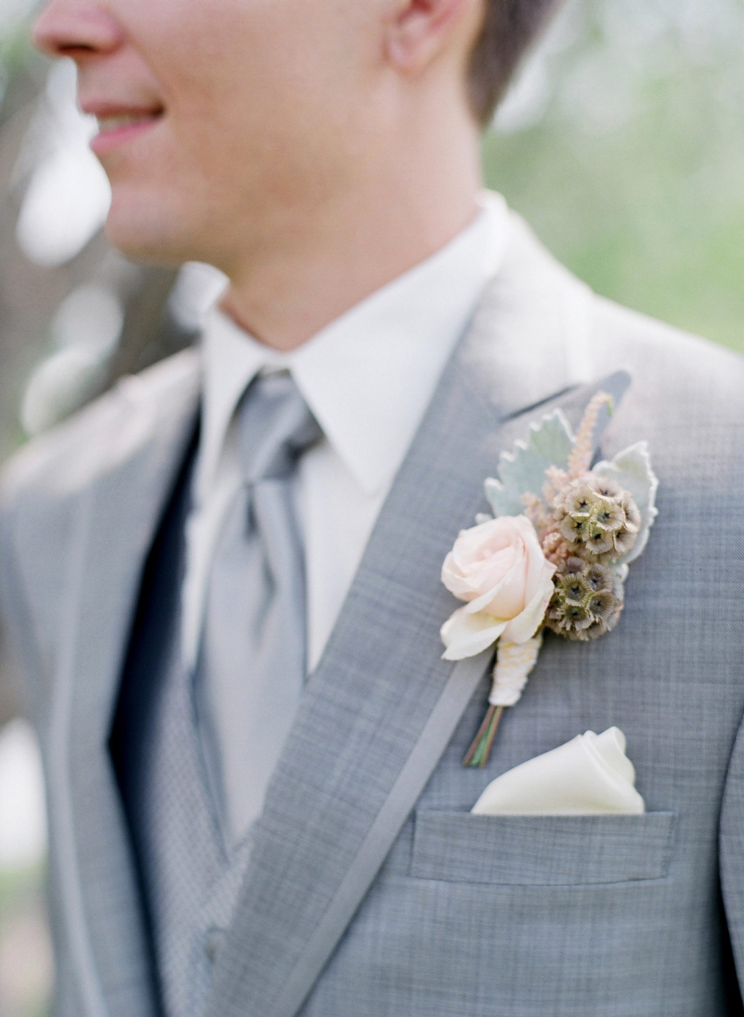 pink spring boutonniere