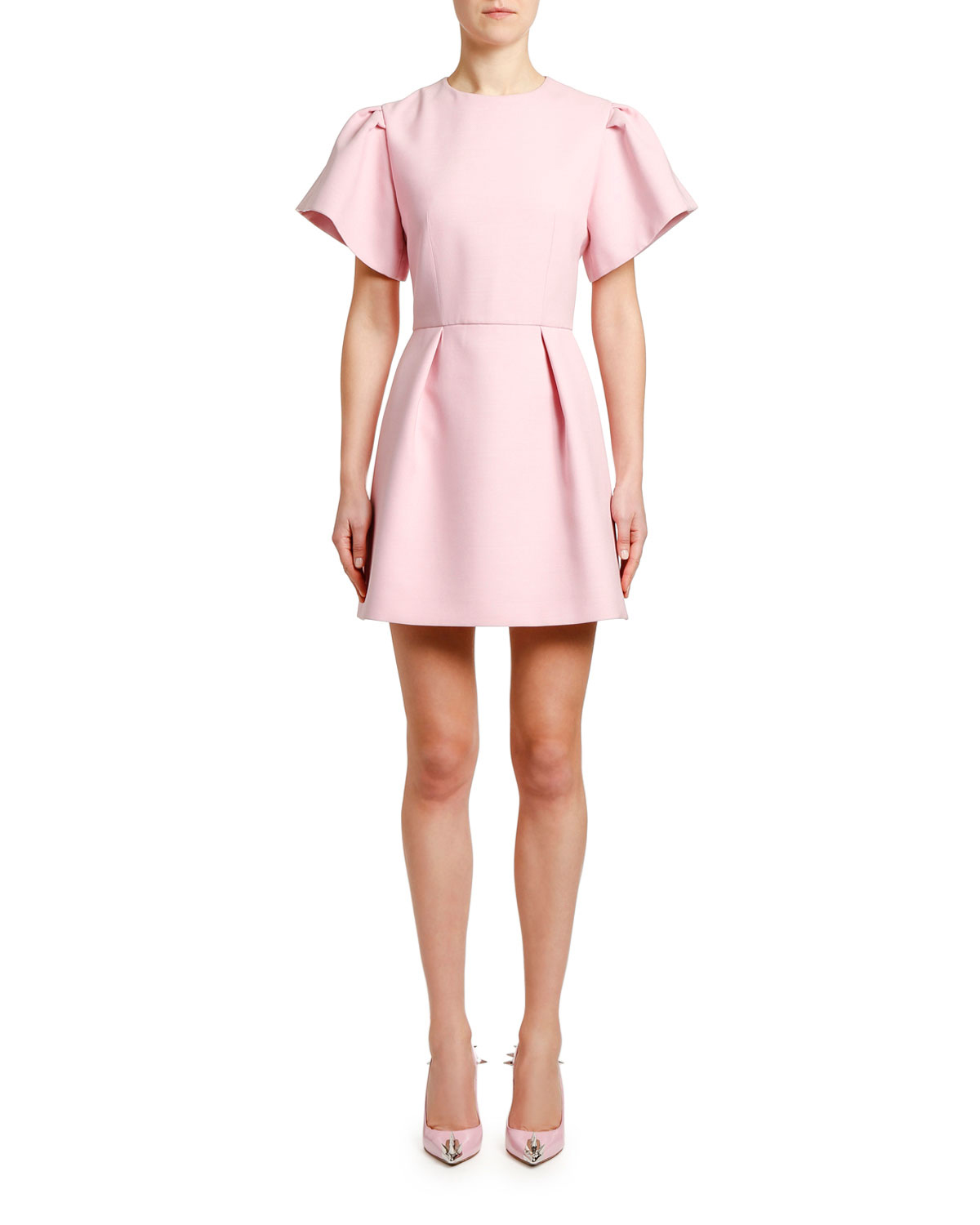 Alexander McQueen Puff-Sleeve Fit-and-Flare Mini Dress