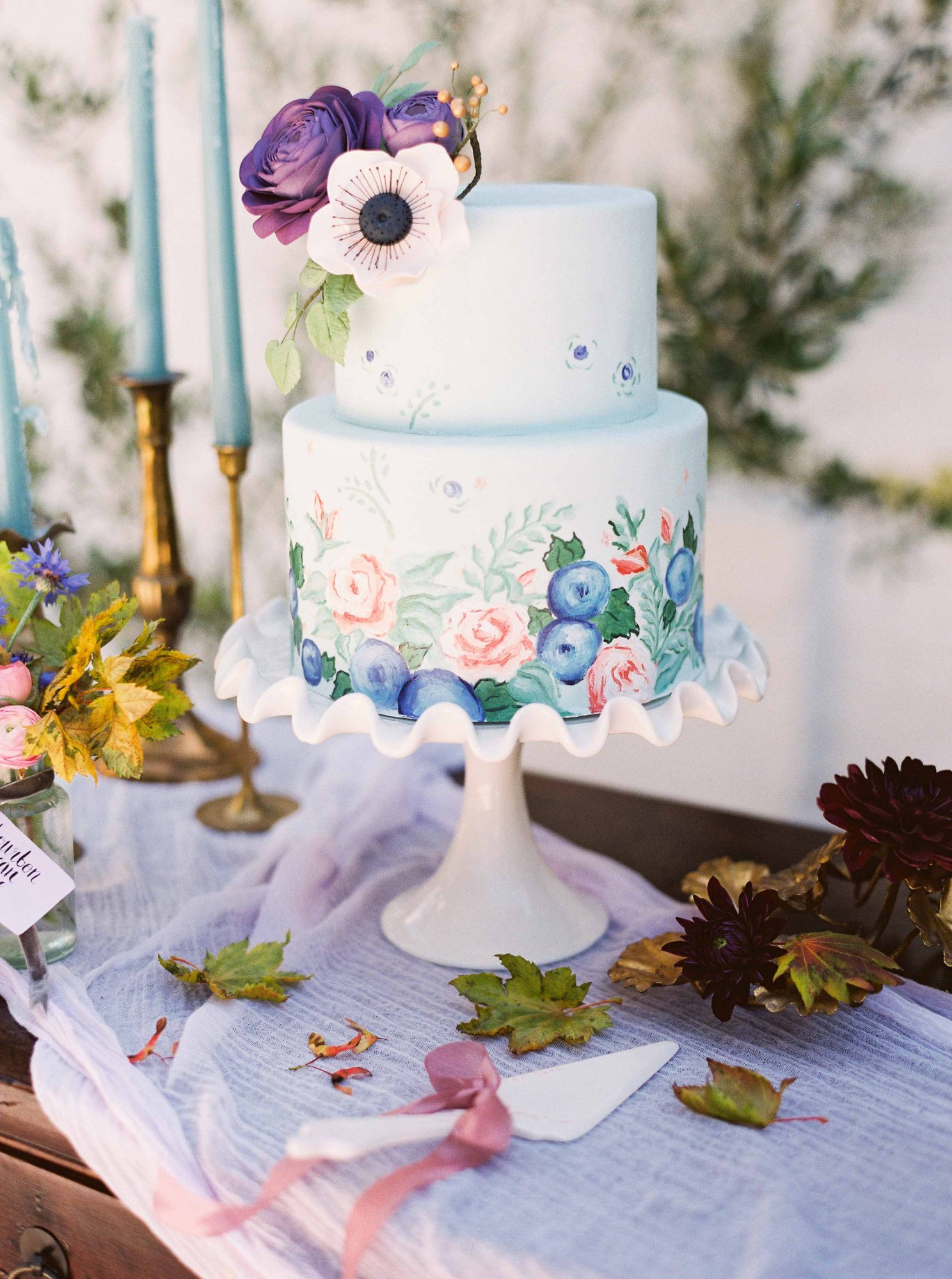floral painted cake