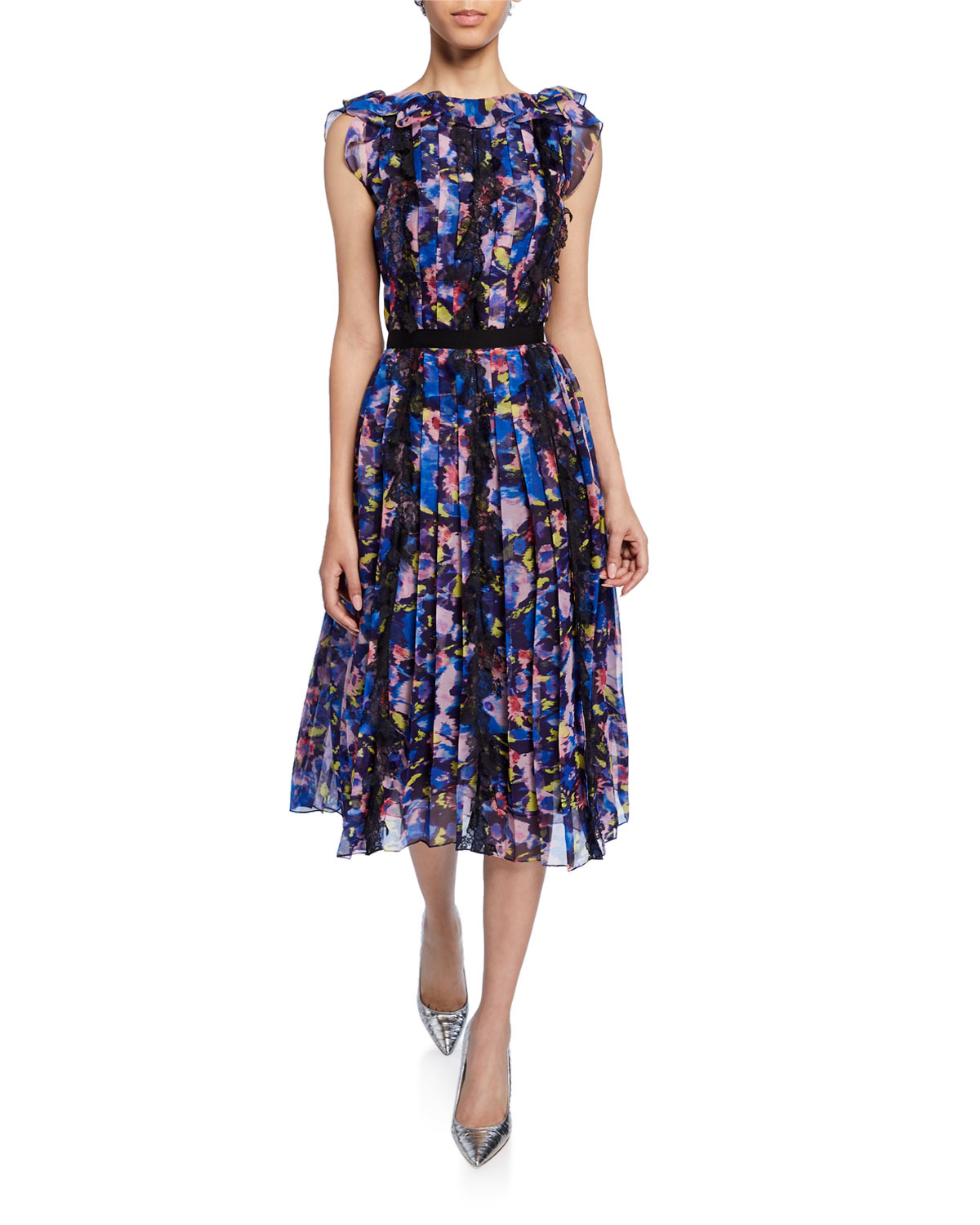 Floral-Print Crinkled Chiffon High-Neck Midi Gown