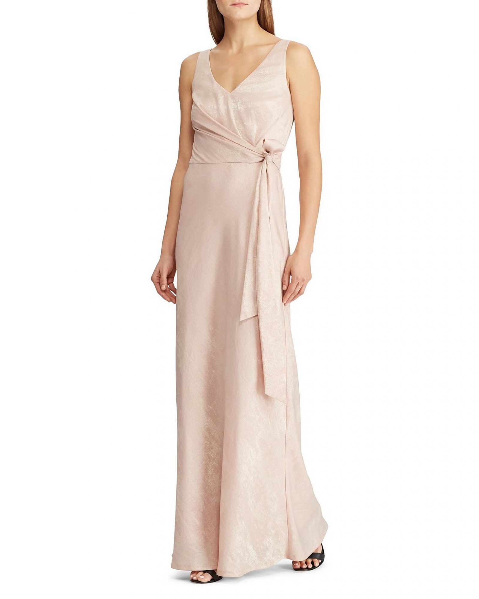 Sleeveless V-Neck Tie Side A-Line Gown