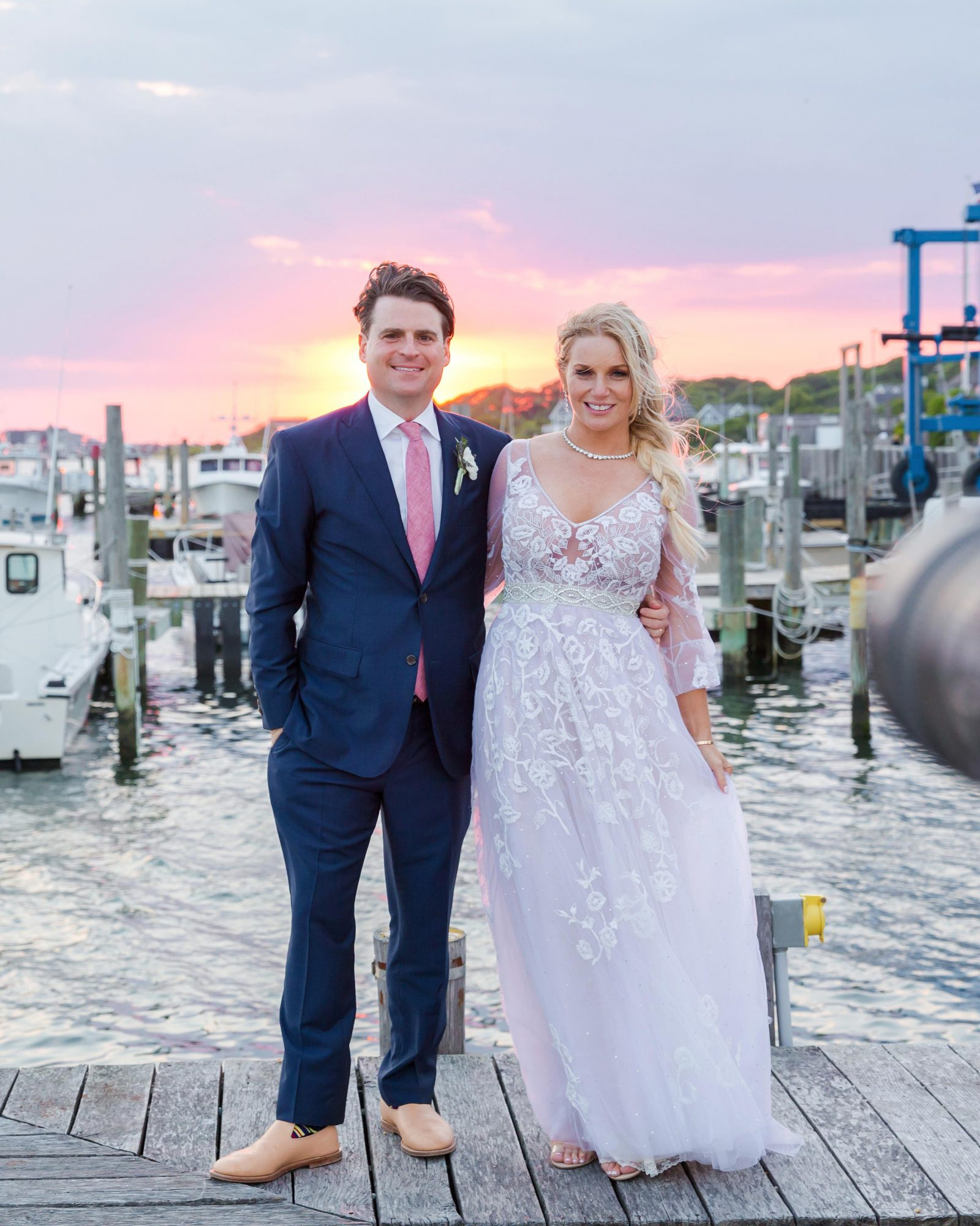 wedding couple portrait sunset