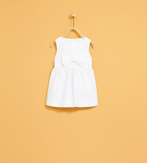 All-White Zara Flower Girl Dress with Bow at Waist