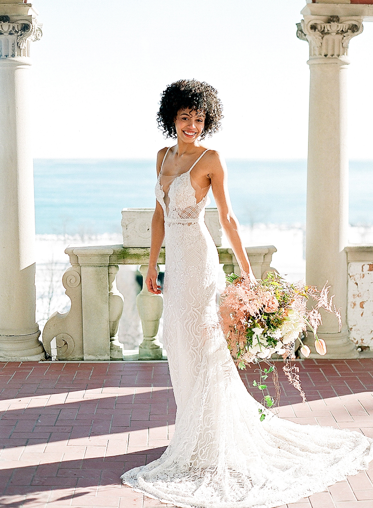 europe style bride in dress with bouquet