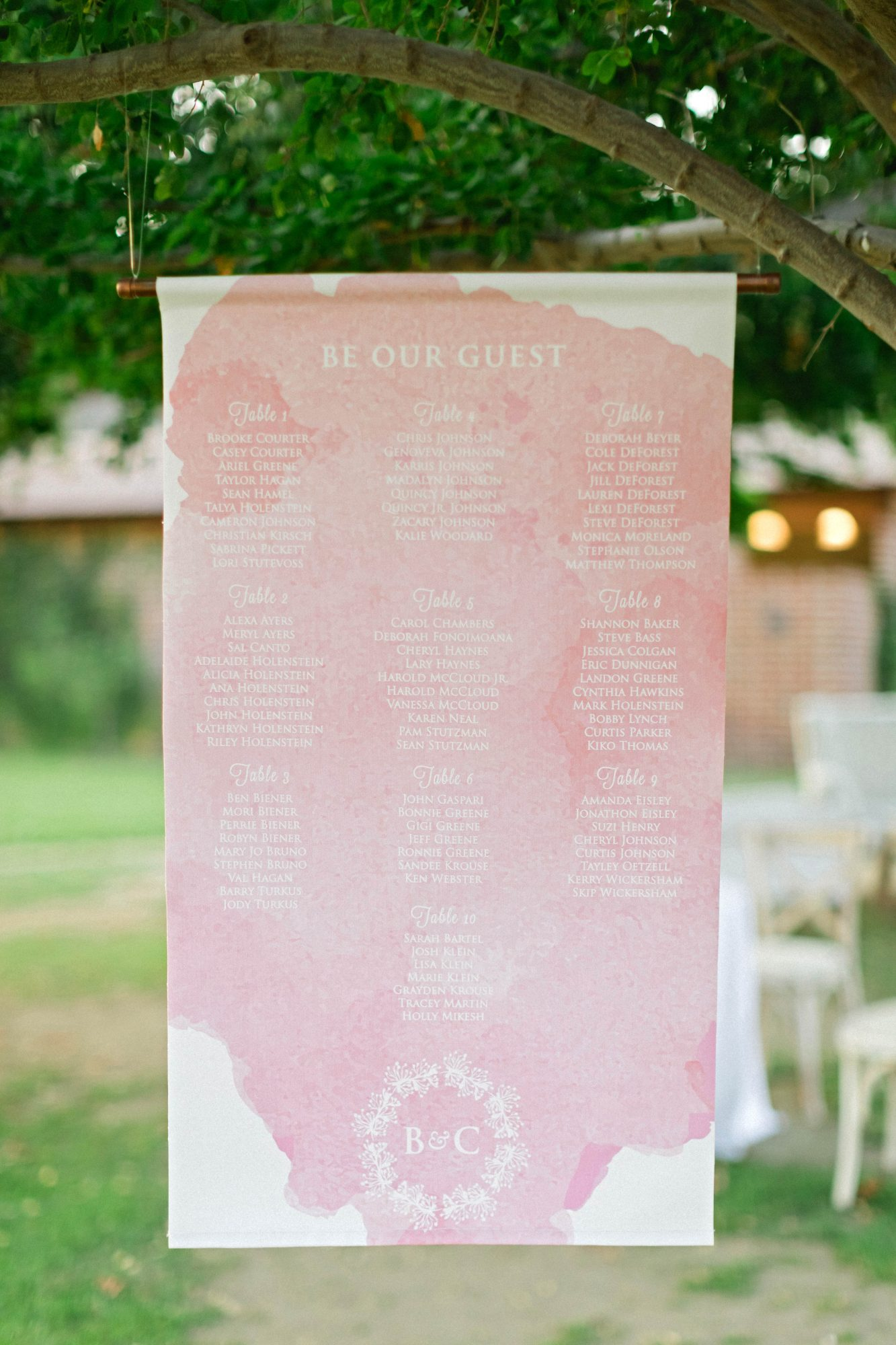 brittany craig wedding seating chart