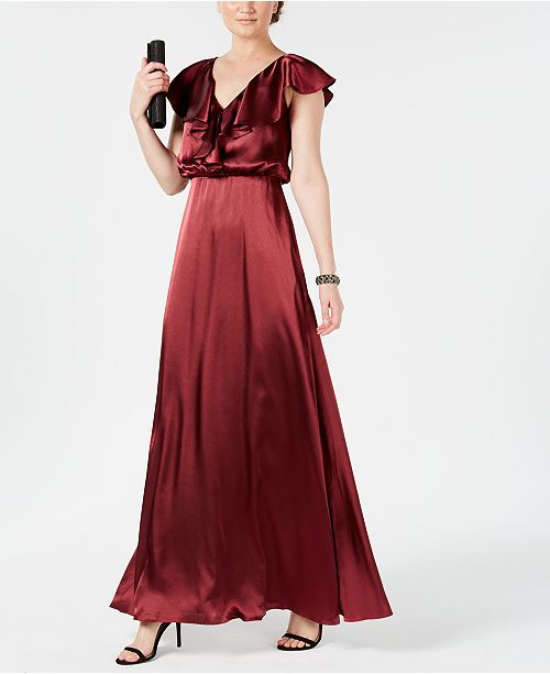 adrianna papell burgundy v-neck ruffled gown