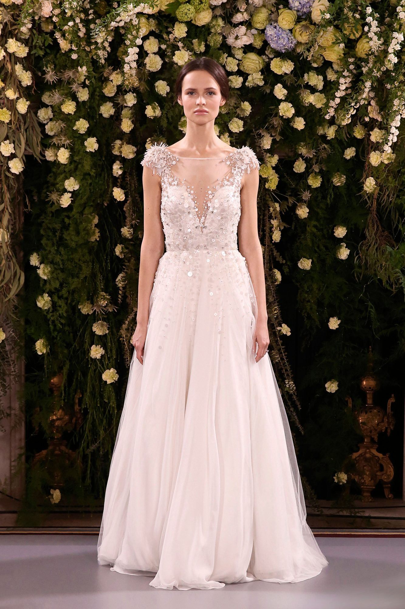 jenny packham wedding dress spring 2019 illusion neck shoulder embellishments