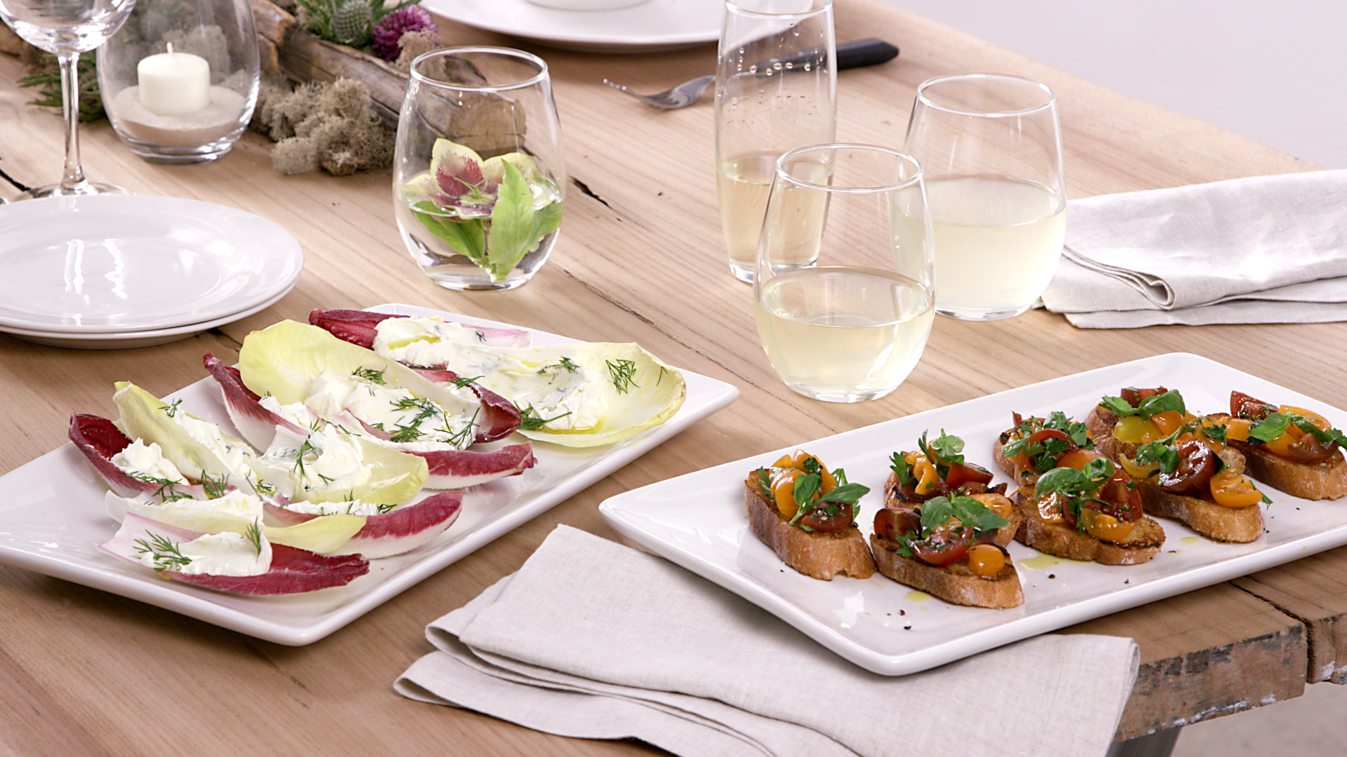 white macys serveware with appetizers and drinks