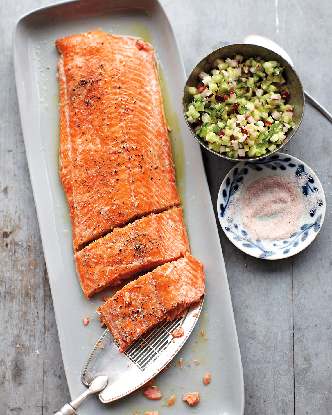 Salmon with Cucumber-Radish Relish