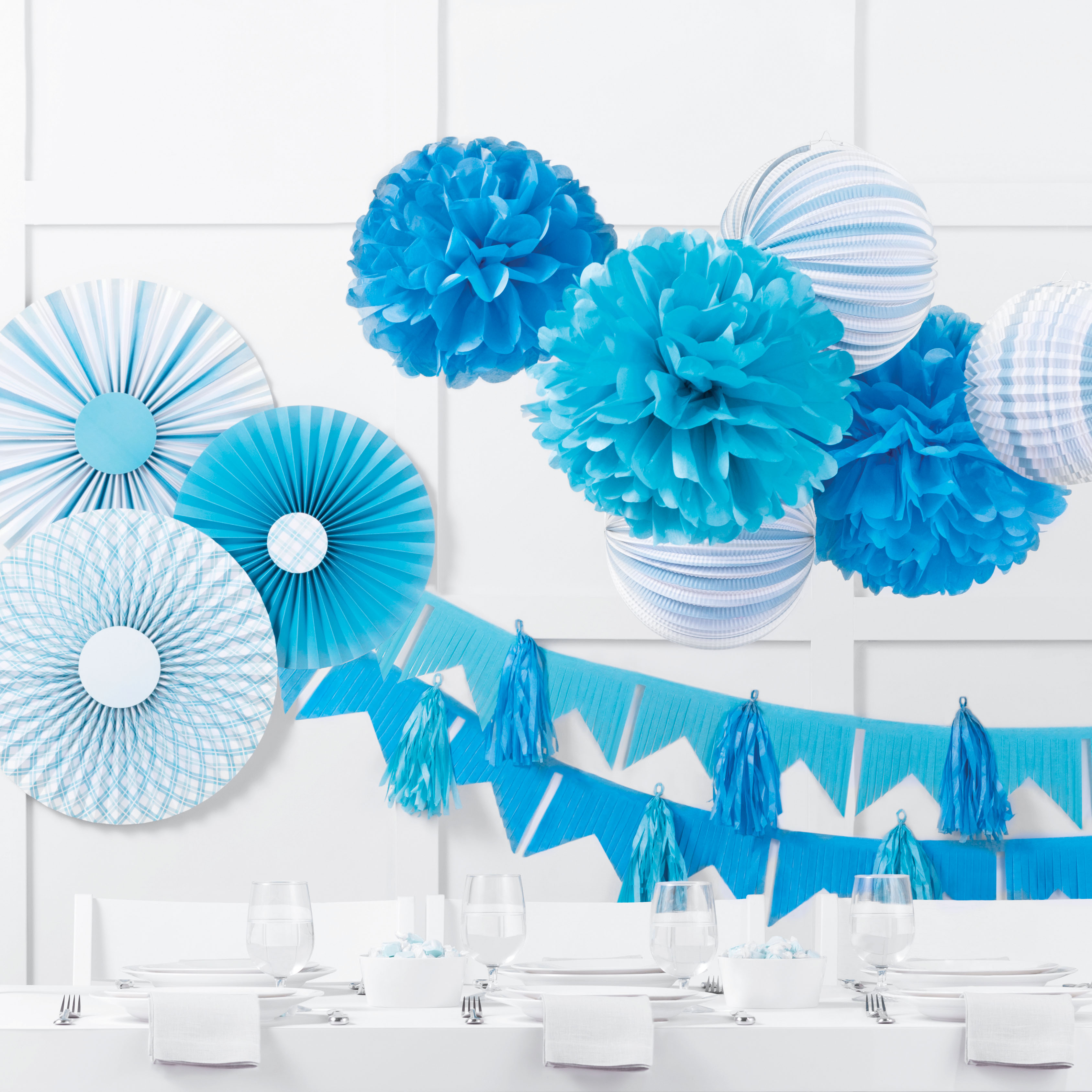 celebrations crafts blue wall party supplies table