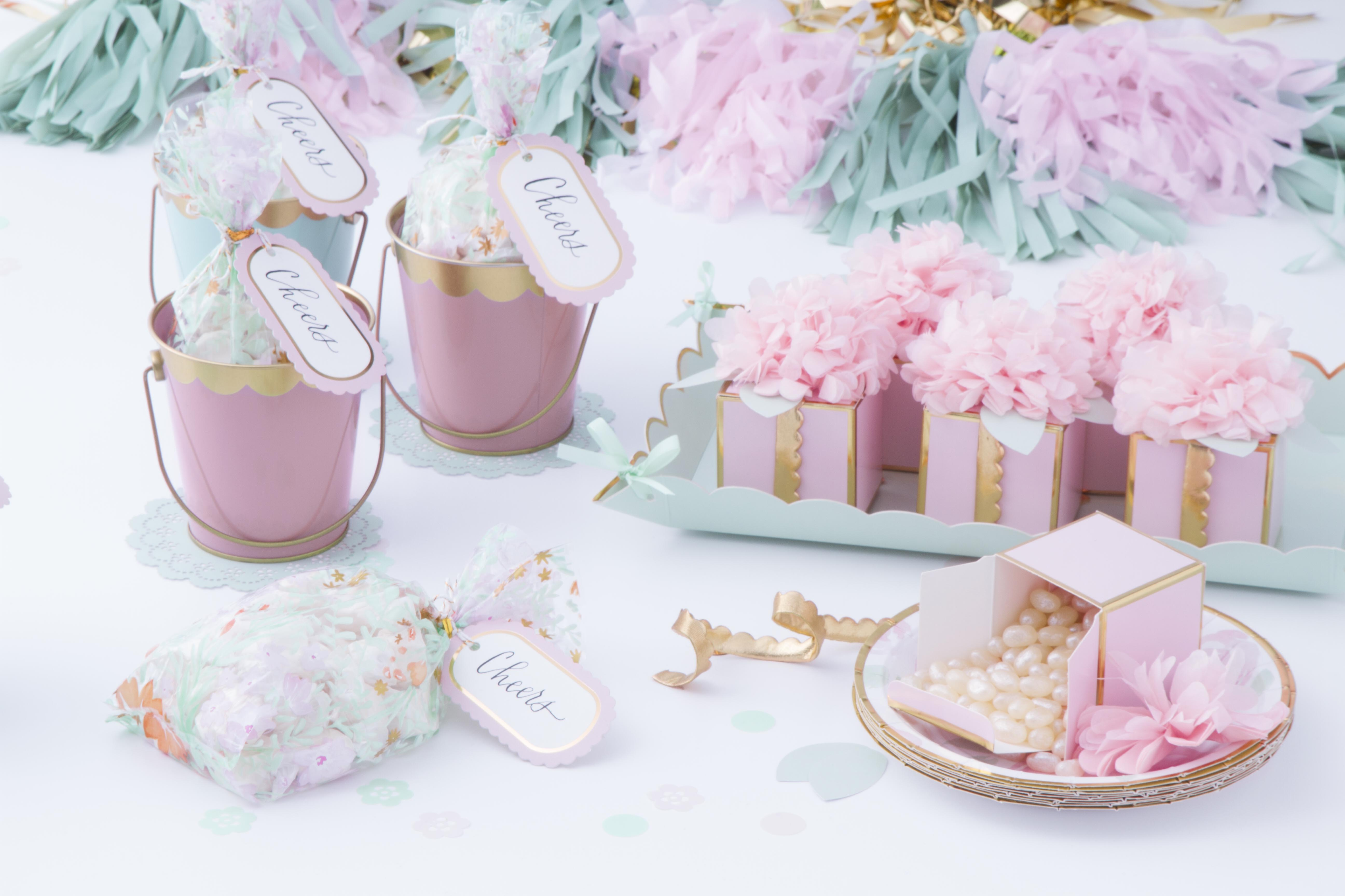 celebrations crafts mint blush party supplies table