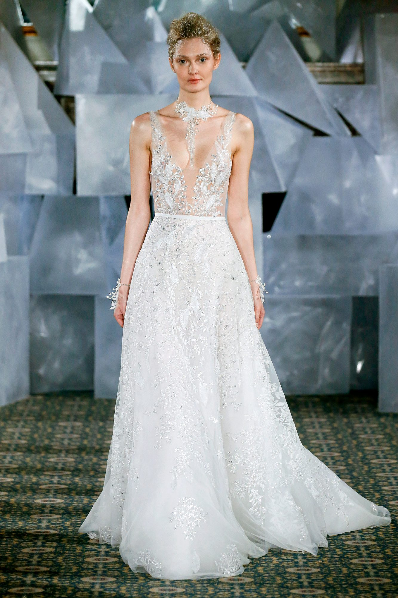 mira zwillinger wedding dress spring 2019 plunging neck embroidered a-line
