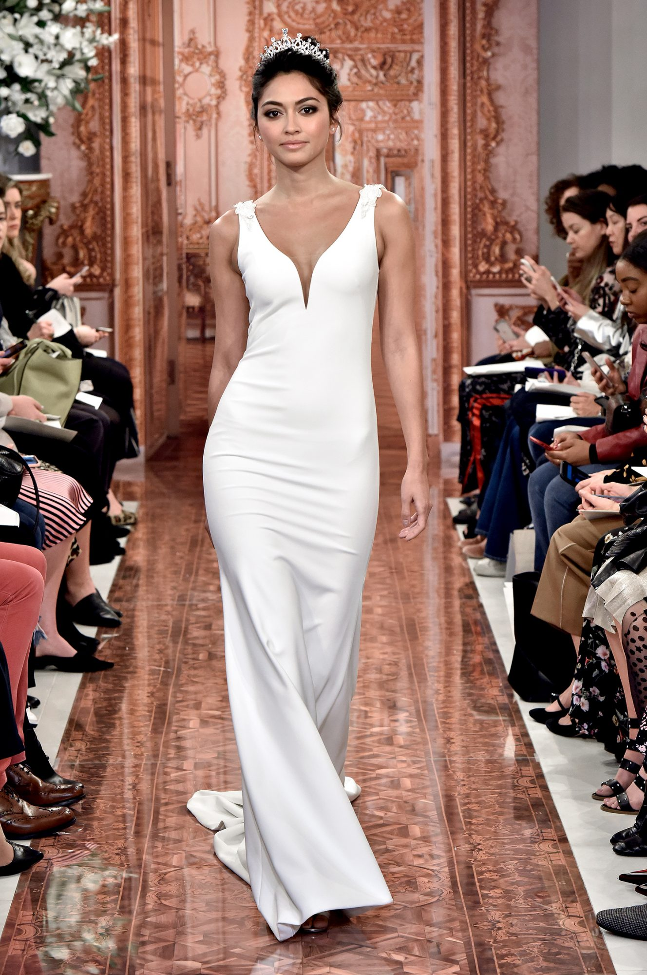 theia wedding dress spring 2019 deep v-neck shoulder detail