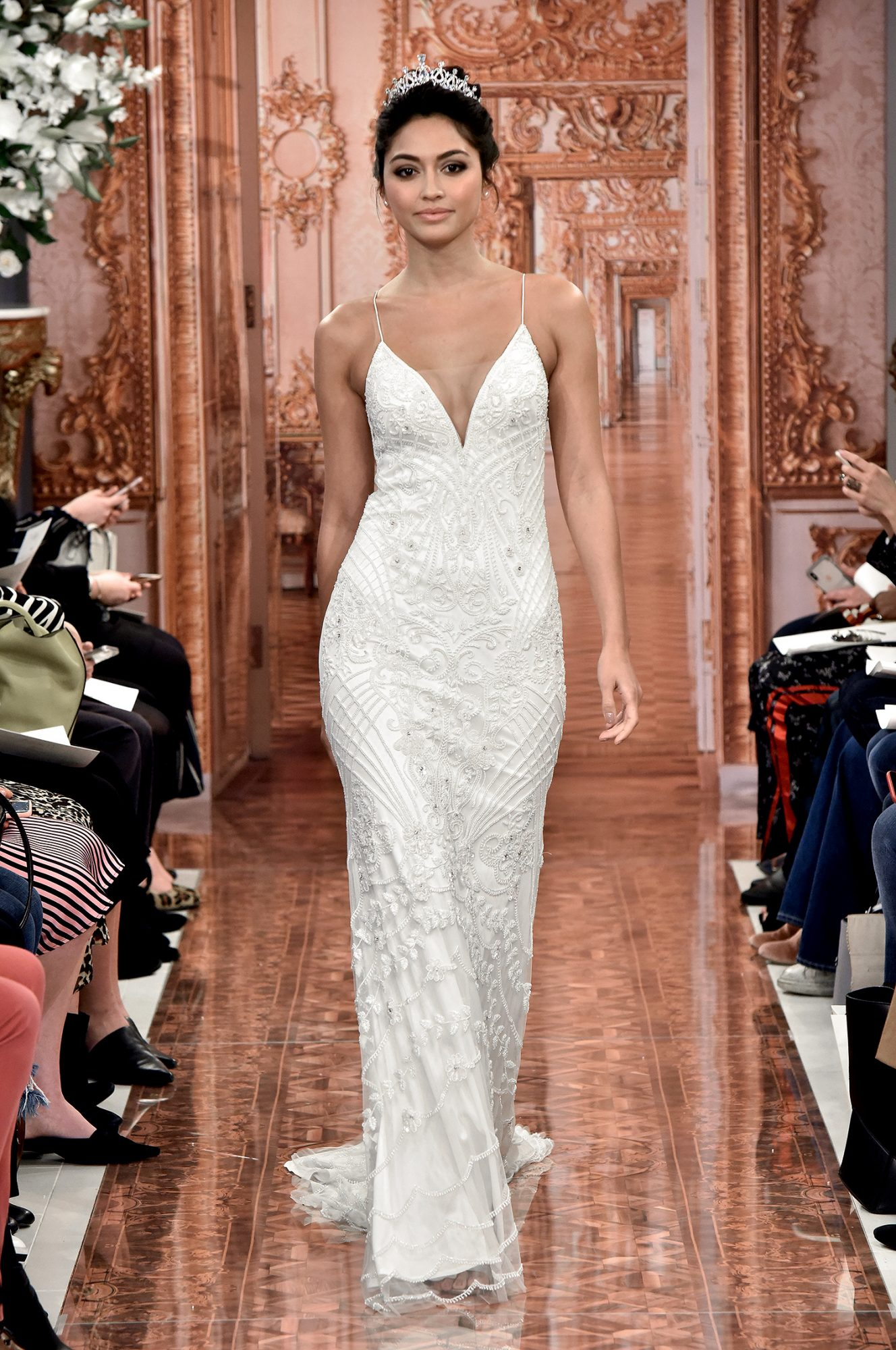 theia wedding dress spring 2019 spaghetti strap beaded overlay