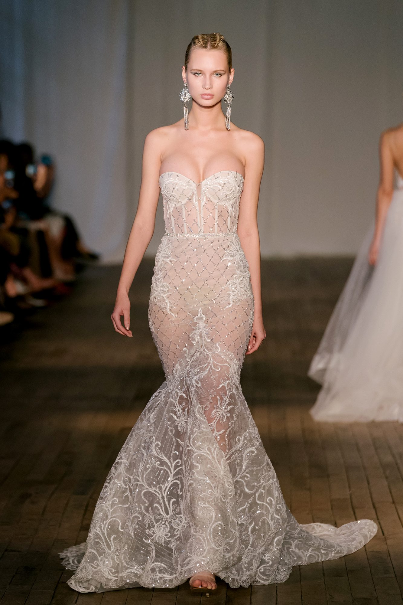berta wedding dress spring 2019 sheer trumpet beadwork embroidery