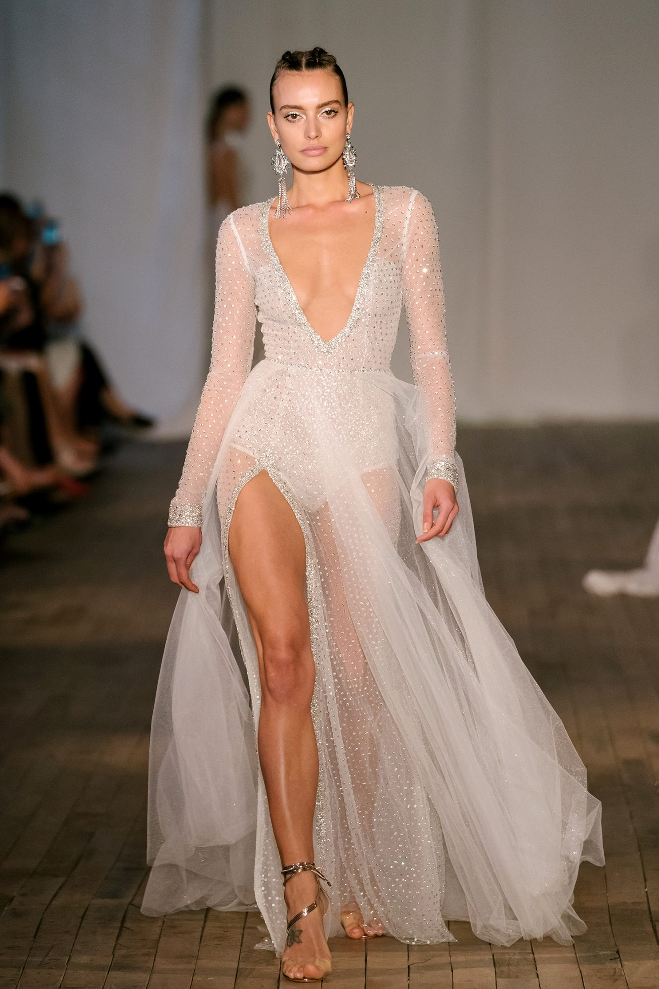 berta wedding dress spring 2019 long-sleeve bodysuit sheer skirt