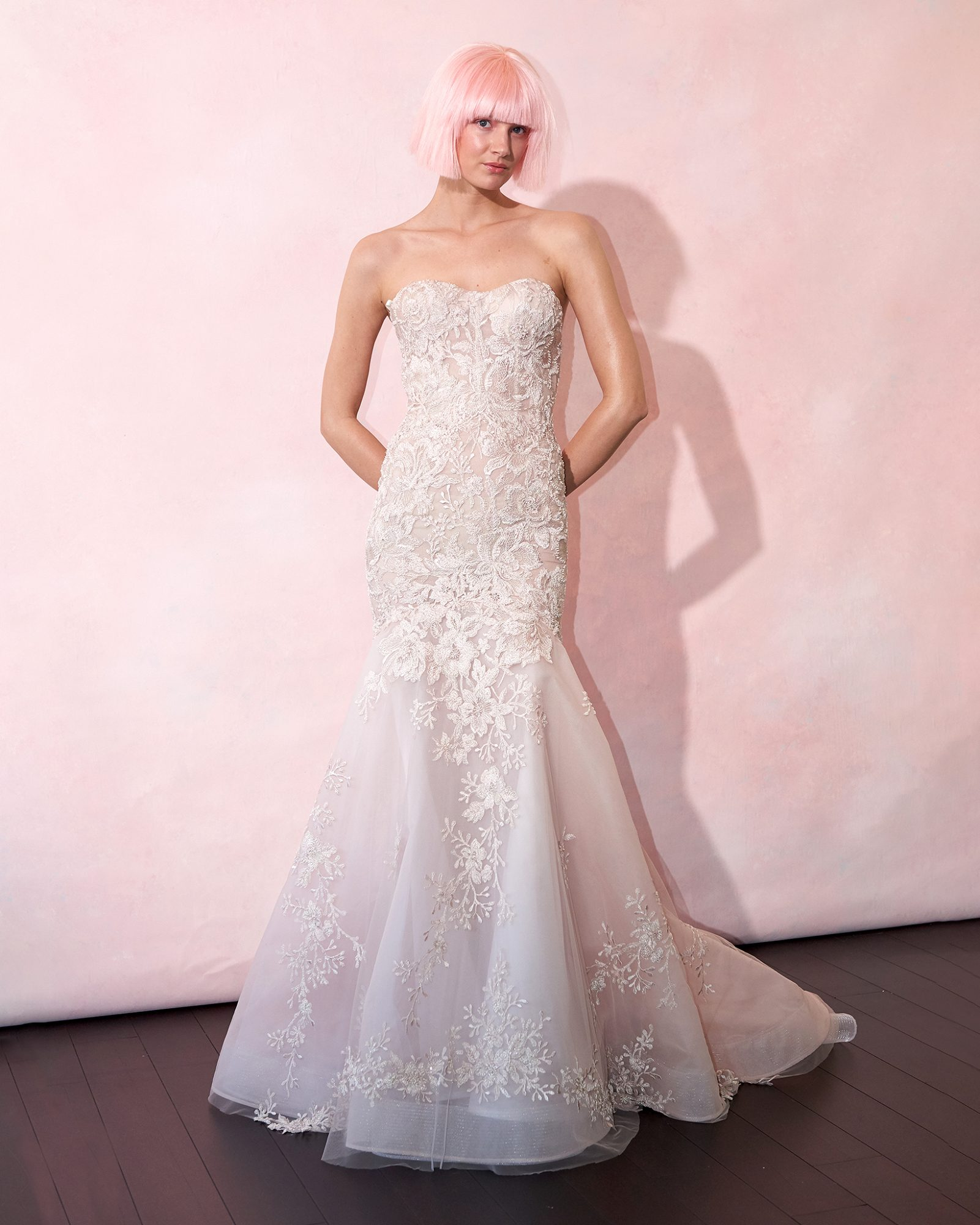 isabelle armstrong wedding dress spring 2019 strapless blush embroidered trumpet