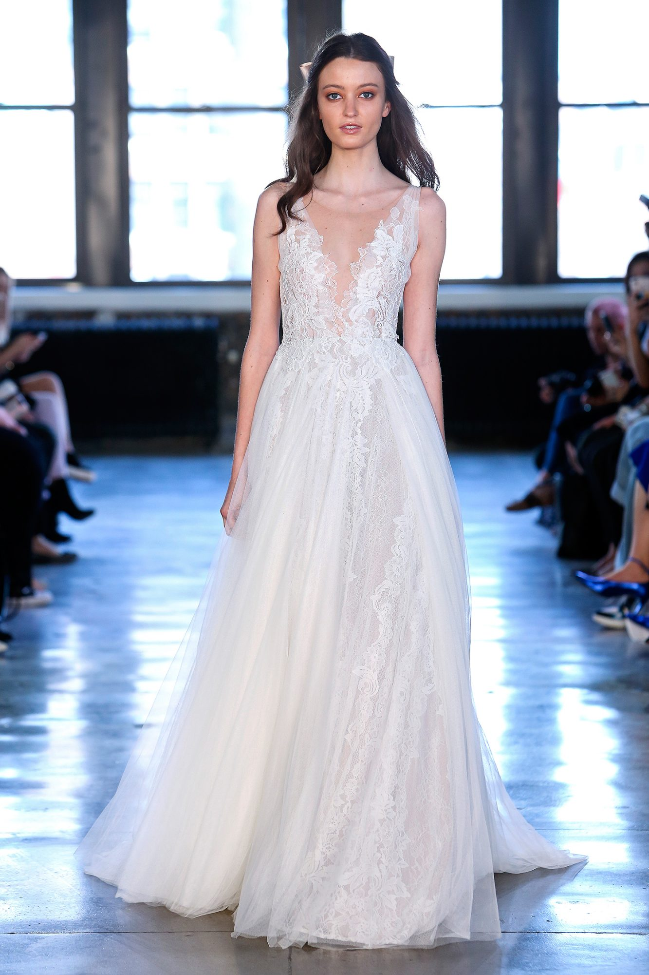 watters wedding dress spring 2019 plunging neck lace a-line