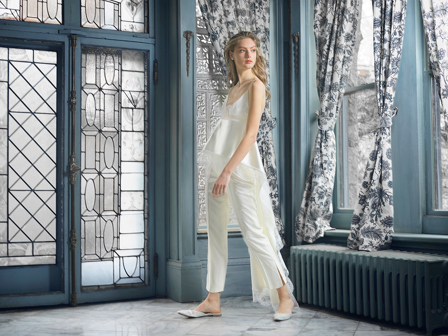 danielle frankel wedding dress spring 2019 spaghetti-strap peplum with pants