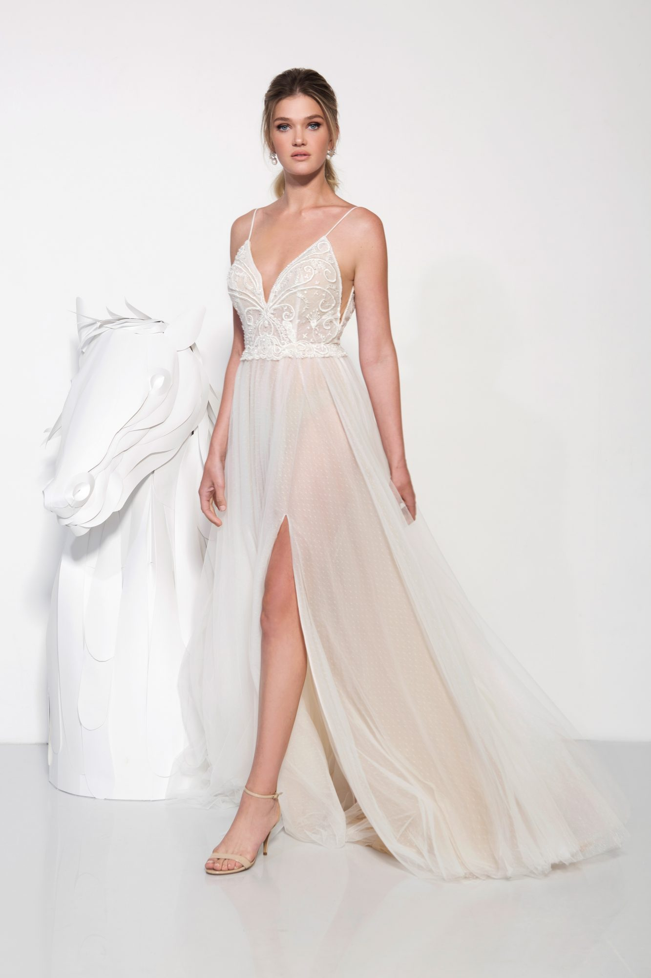 lavish by yaniv persy wedding dress spring 2019 spaghetti straps a-line deep v