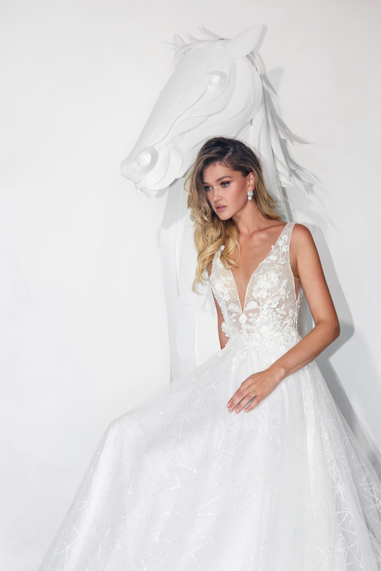 lavish by yaniv persy wedding dress spring 2019 deep v sleeveless a-line