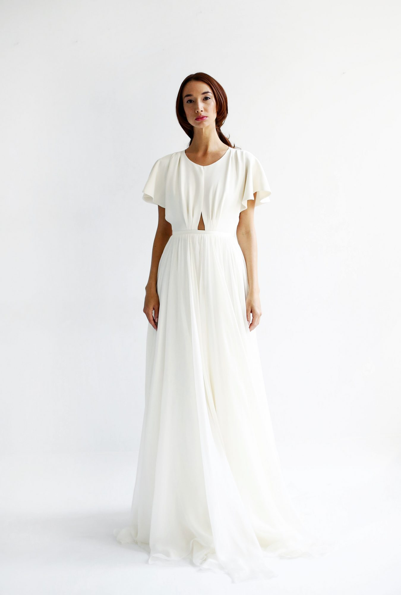 leanne marshall wedding dress spring 2019 short sleeves cut out a-line