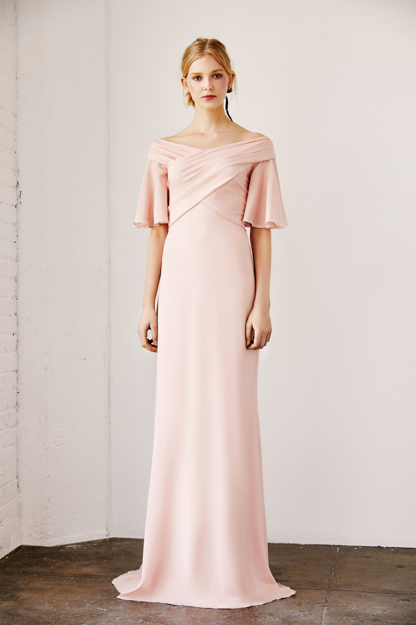 tadashi shoji wedding dress spring 2019 pink elbow length sleeves column