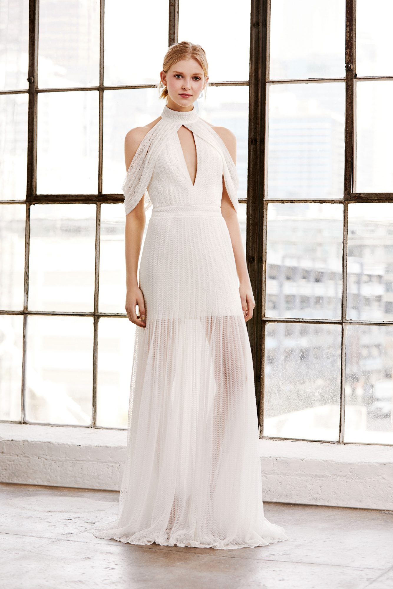 tadashi shoji wedding dress spring 2019 keyhole cold shoulder high neck