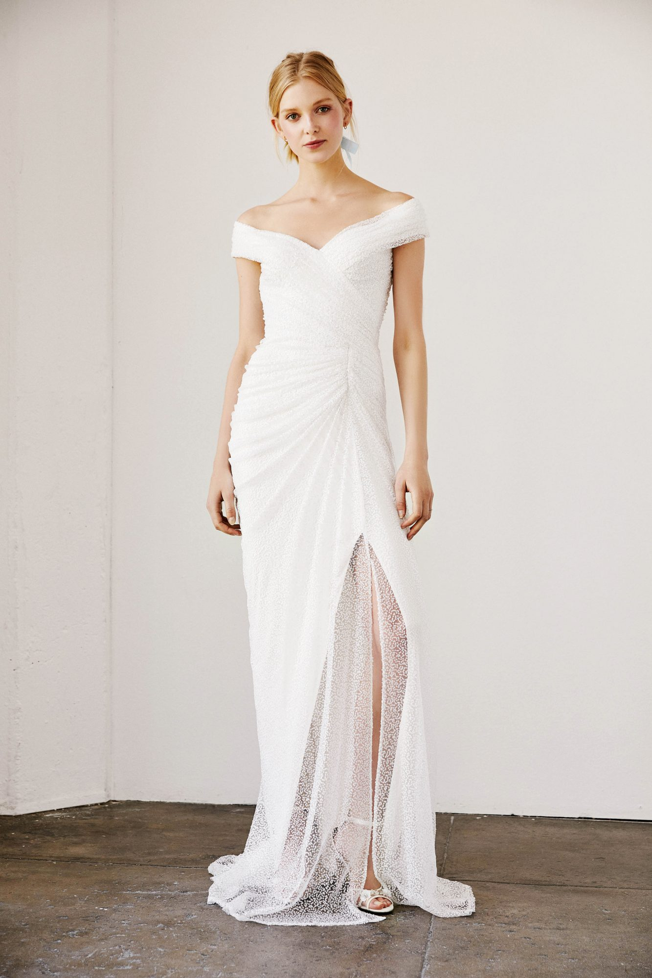tadashi shoji wedding dress spring 2019 off the shoulder ruching slit