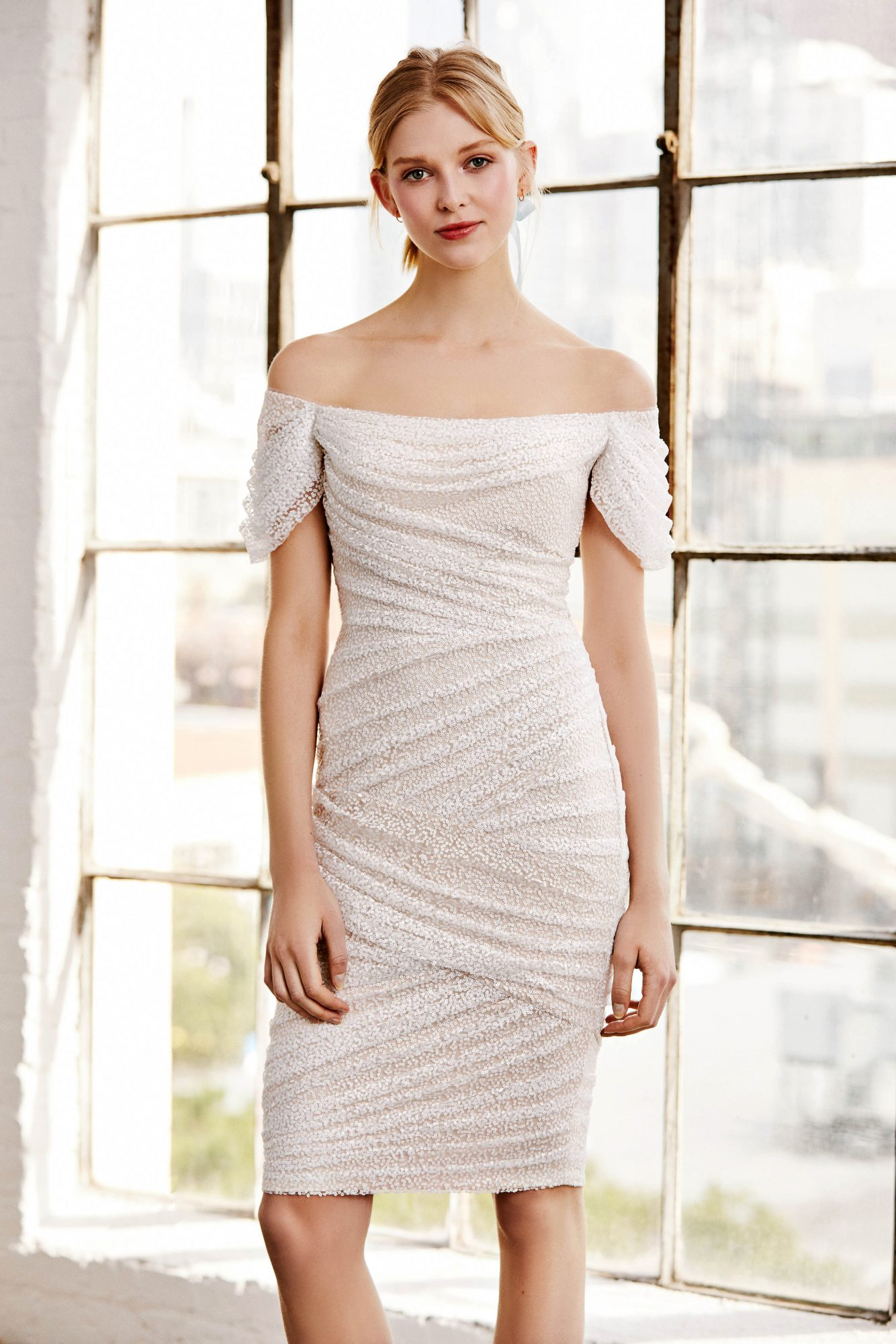 tadashi shoji wedding dress spring 2019 off the shoulder short ruching
