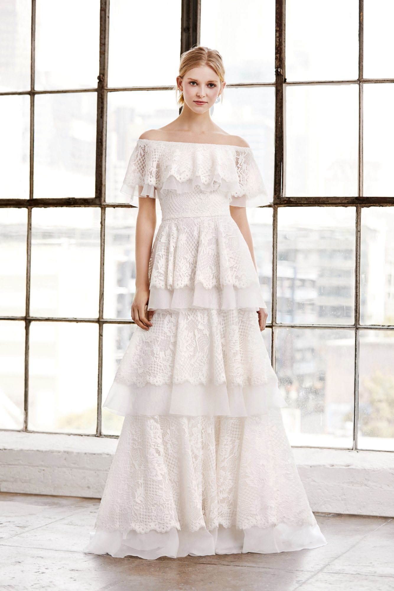 tadashi shoji wedding dress spring 2019 off the shoulder lace tiers