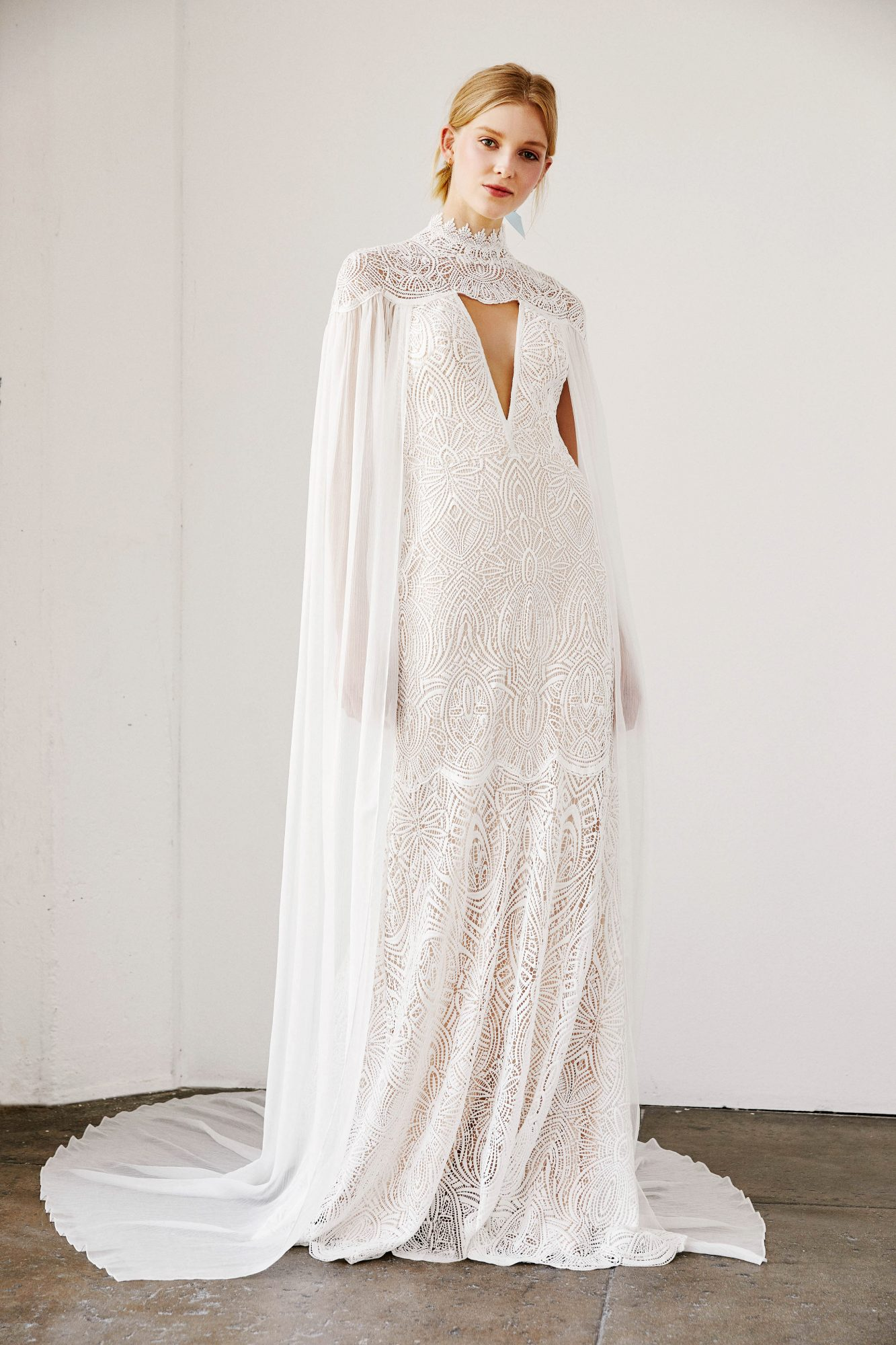 tadashi shoji wedding dress spring 2019 cutout cape sheath