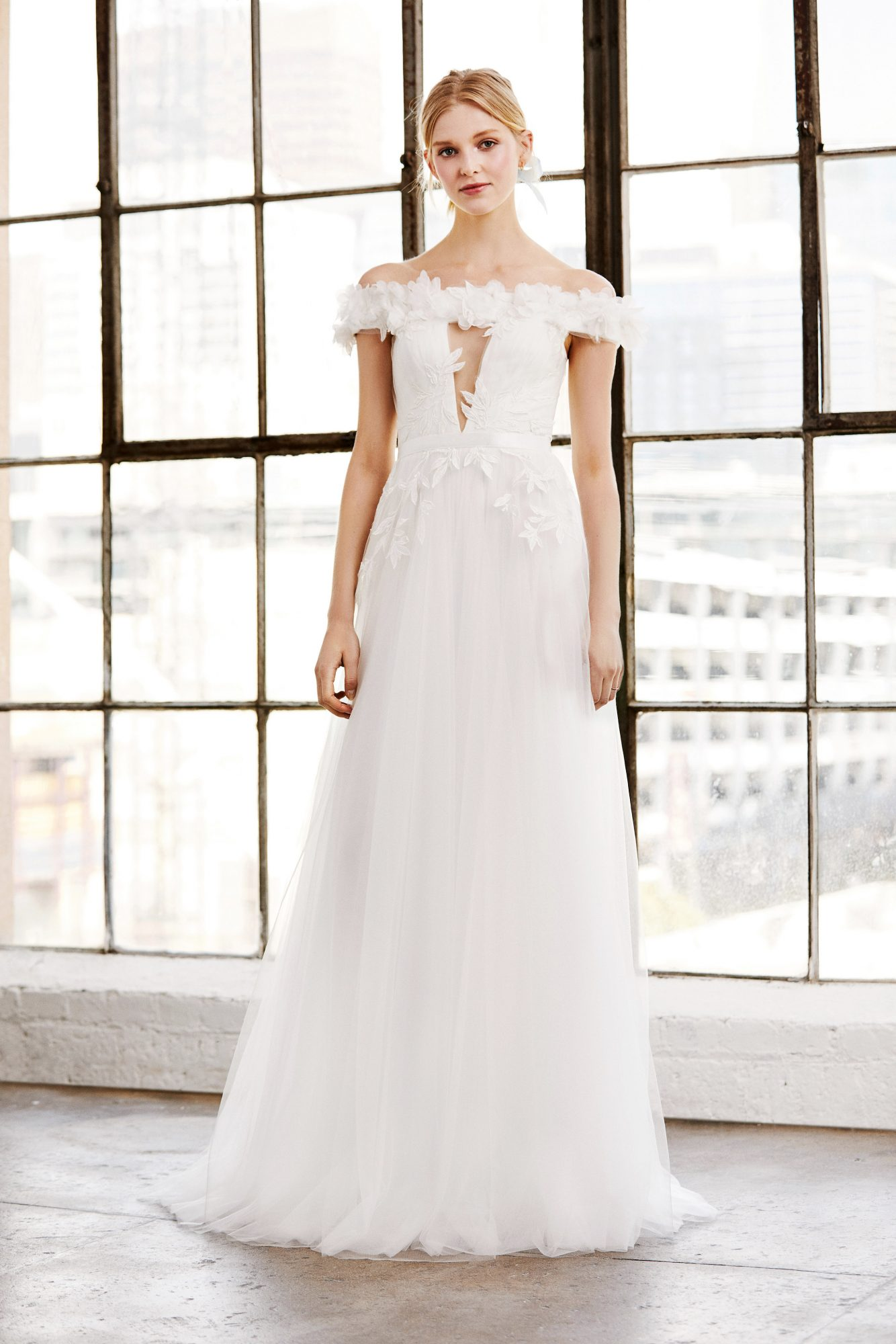 tadashi shoji wedding dress spring 2019 off the shoulder cutout a-line