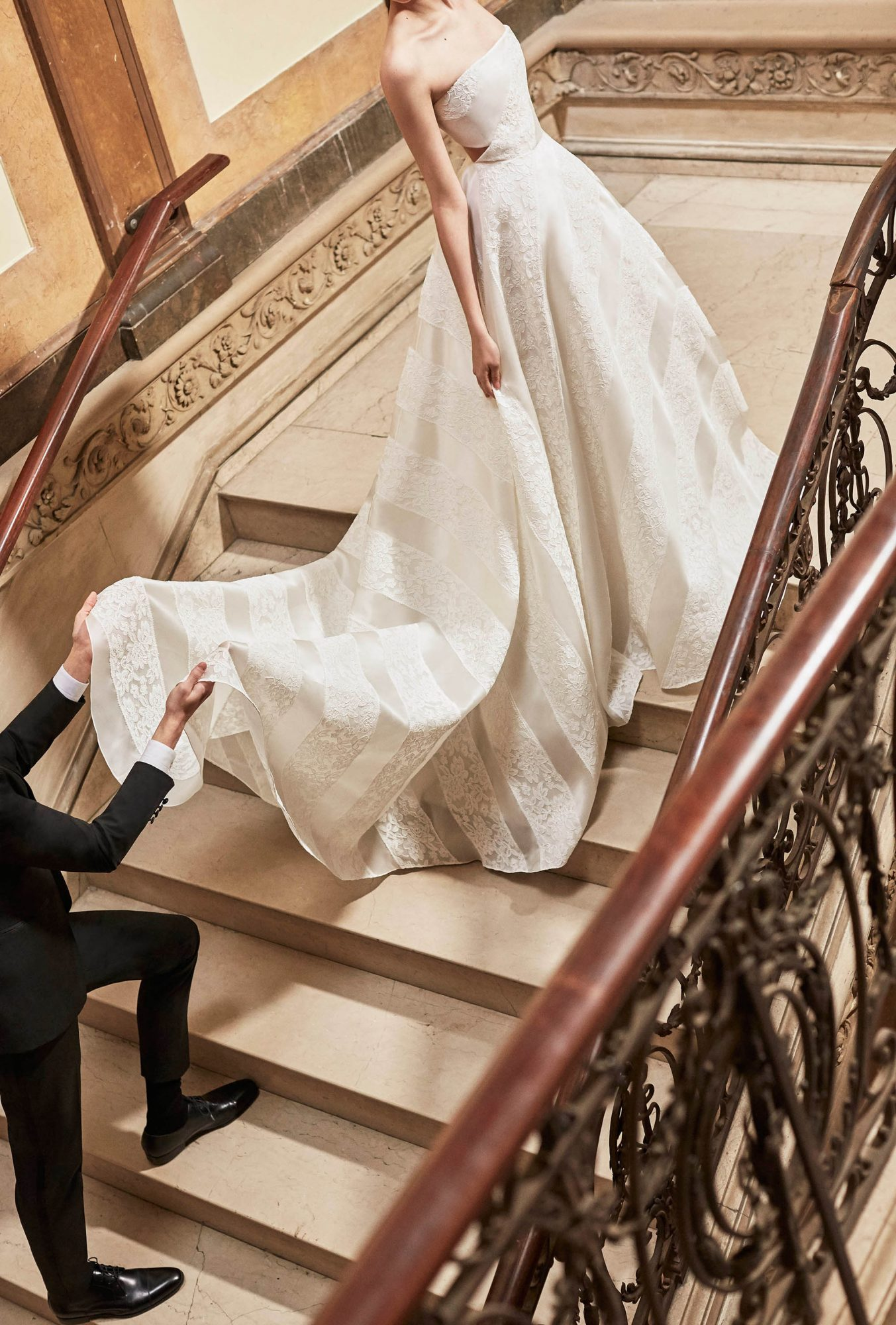 Carolina Herrera wedding dress spring 2019 strapless ballgown with lace and vertical lines