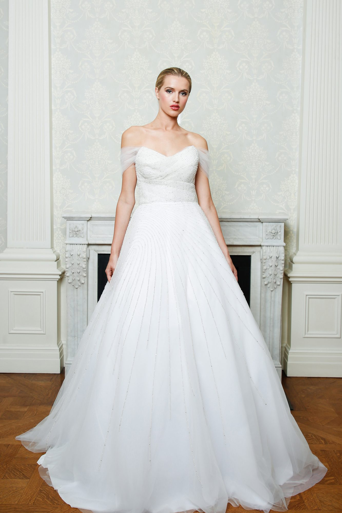 Cristina Ottaviano wedding dress spring 2019 beaded sweetheart neckline ballgown with off the shoulder sleeves