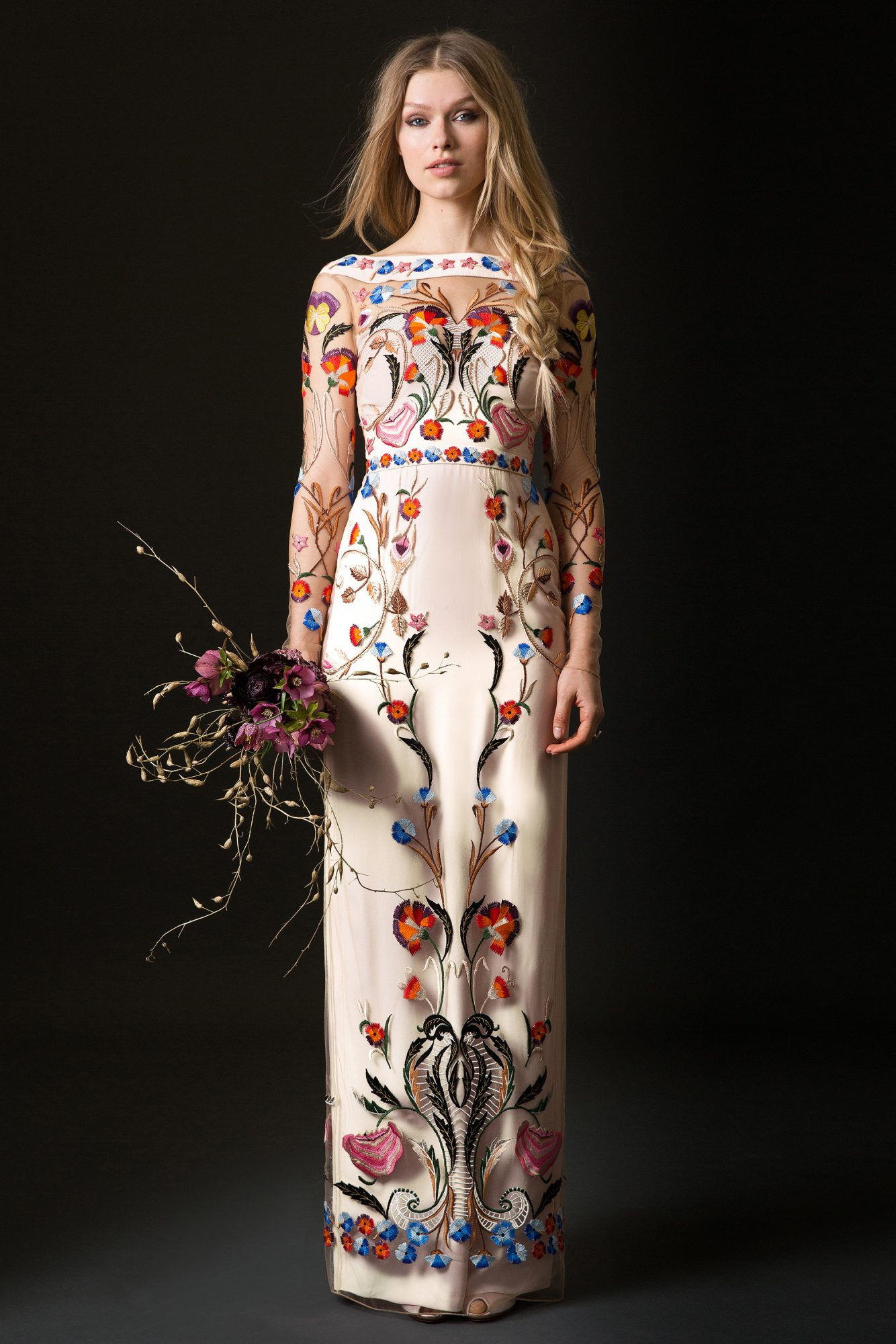 temperley wedding dress spring 2019 sheath with long sleeves and colorful floral applique