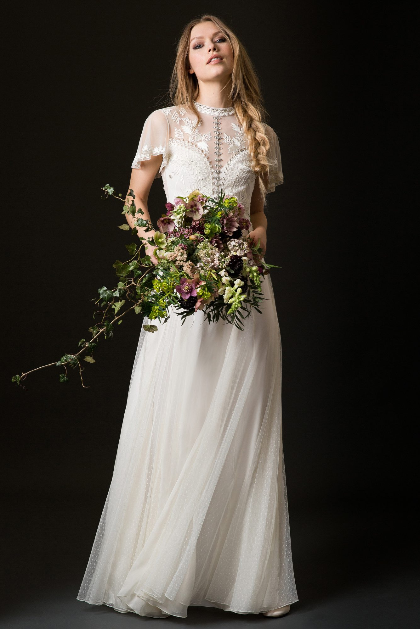 temperley wedding dress spring 2019 sheath with high neck and short lace sleeves