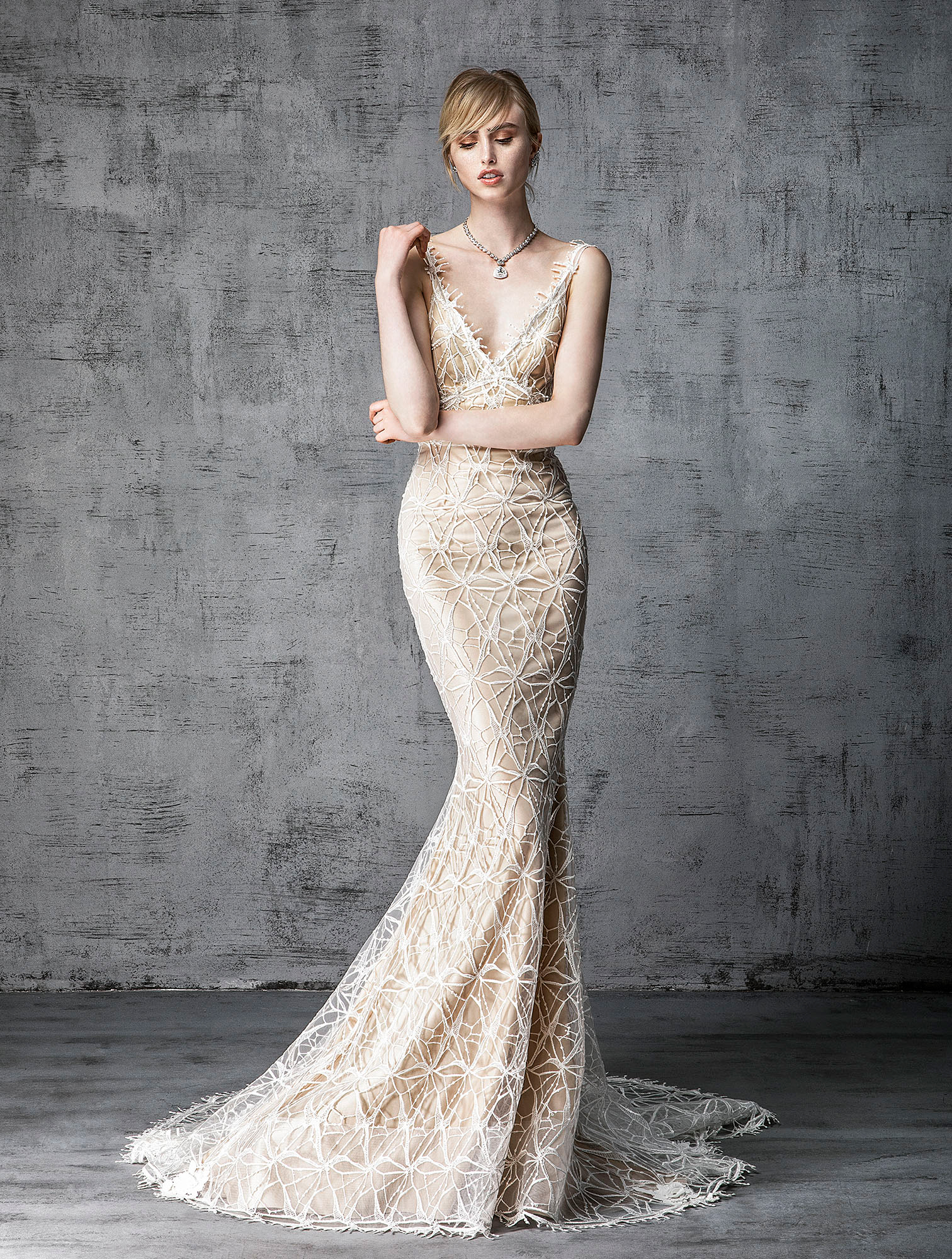 victoria kyriakides wedding dress spring 2019 champagne with net overlay