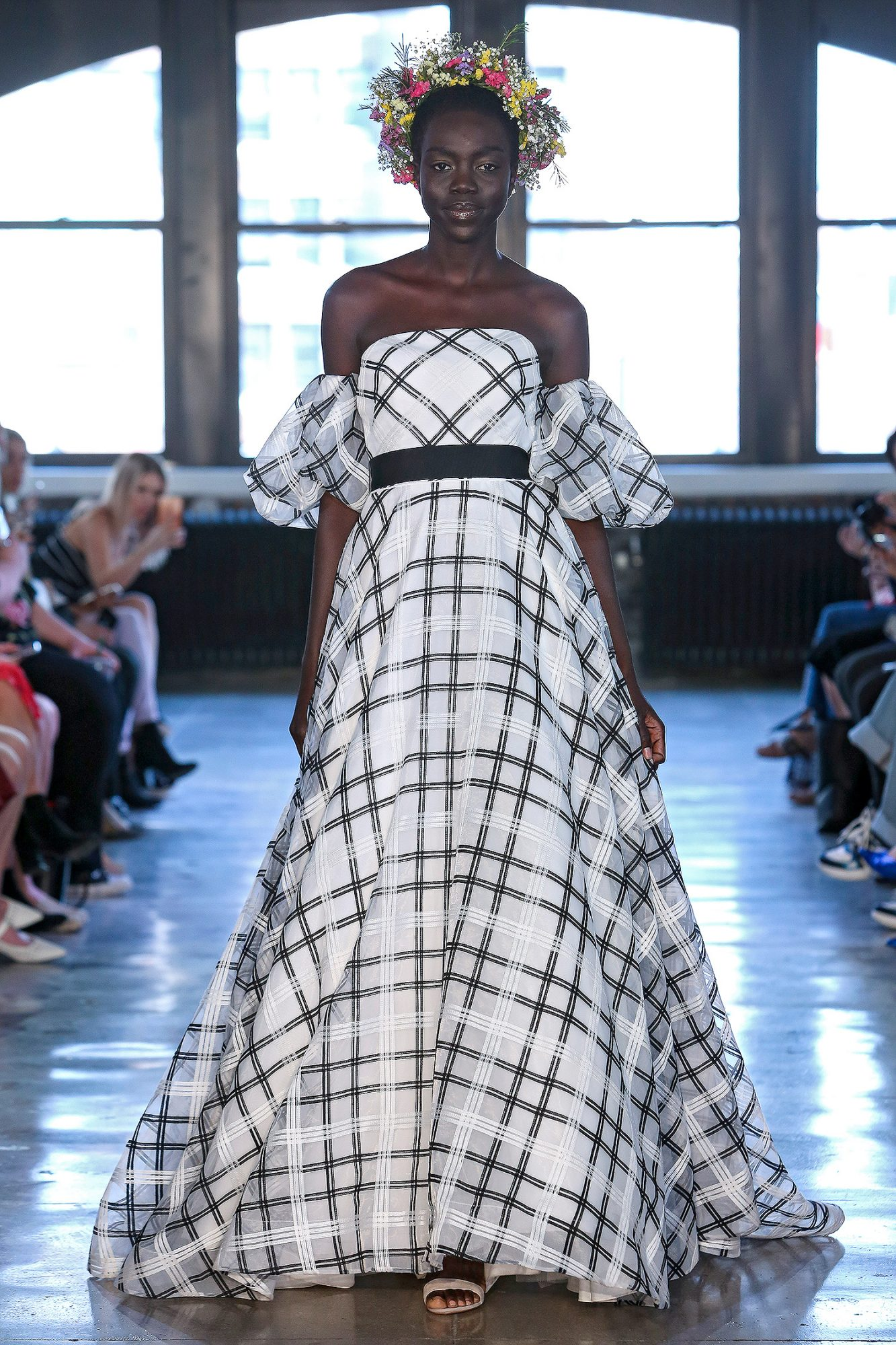 wtoo watters wedding dress spring 2019 black white plaid off-the-shoulder